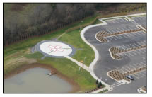 Hospital helipad in the southeast US. Full design of new helipad added to facility after initial construction. Services by Raymond A. Syms & Associates.