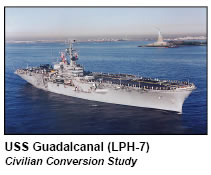 USS Guadalcanal (LPH-7); Raymond A. Syms & Associates was part of the technical design team for the civilian conversion study.